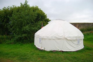 Mongolian canvas yurt outside at rivendale