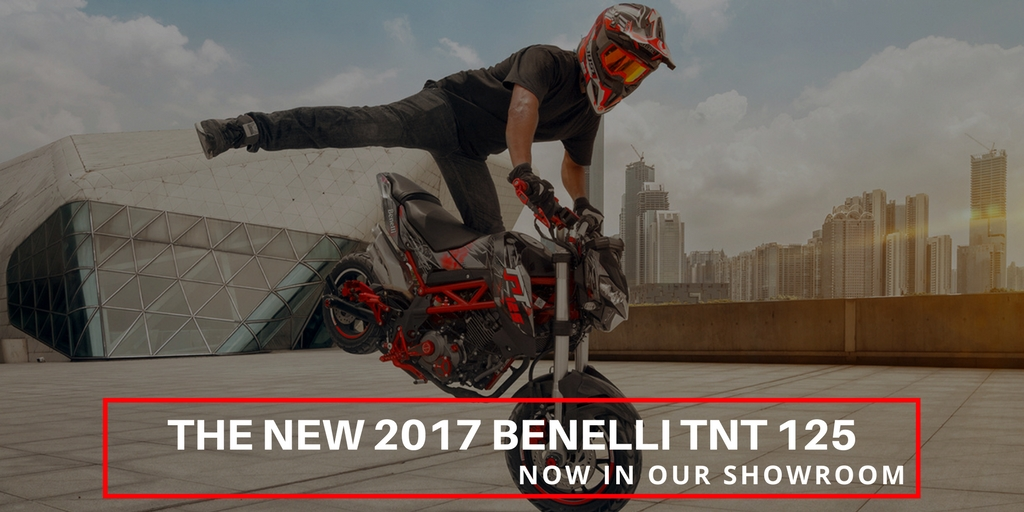 Benelli TNT 125 2017 models now in stock in Midland Scooter Centre Showroom Nottingham