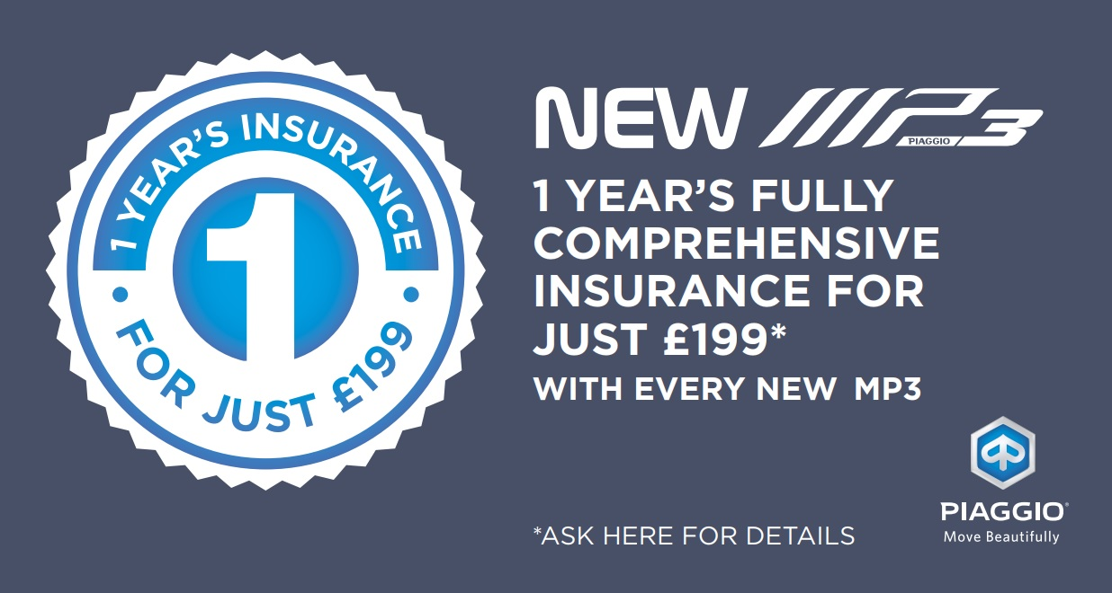 Fully comprehensive insurance for just £199 with every new MP3.
