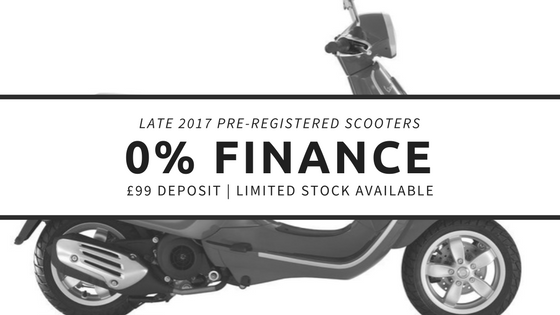Pre-registered 2017 scooters available with 0% APR finance.