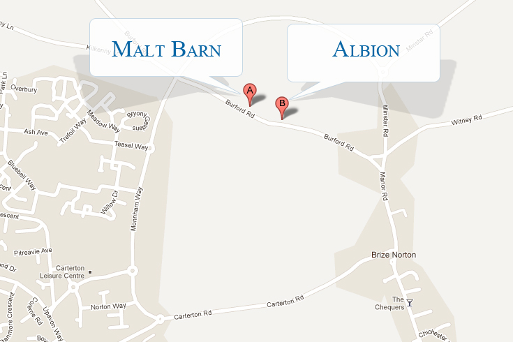 Map of Malt and Albion Barn locations image