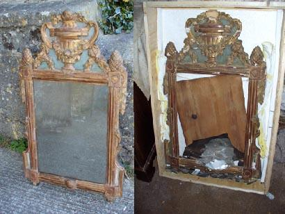 17th Century gilded and painted mirror. This mirror was shipped to New York, and had a bad flight! The picture on the left shows how it looked once restored.
